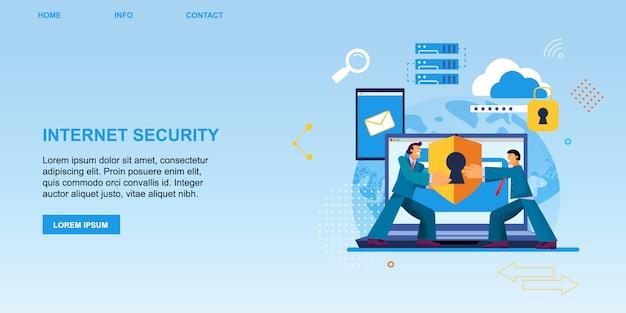 Proteção de segurança de internet de bandeira plana. Vetor Premium