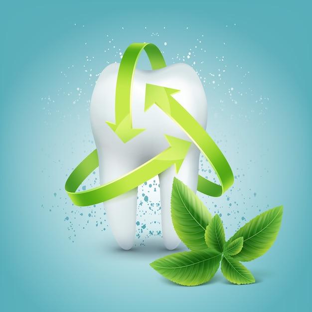 Proteção de seta verde de vetor ao redor do dente com folha de hortelã-pimenta isolada em fundo azul Vetor grátis