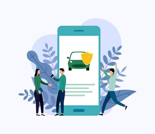 Proteção do carro, conceito do negócio Vetor Premium