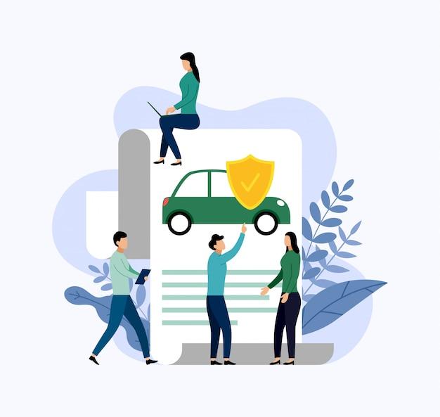 Proteção do carro, ilustração do conceito de negócio Vetor Premium