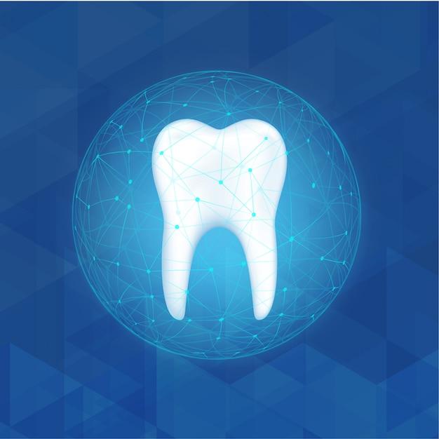Proteção do dentista cuidando do conceito de dentes. Vetor Premium