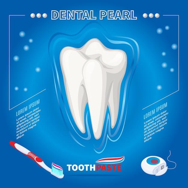 Proteção isométrica do conceito de pérola dental com escova de dente saudável, pasta de dente e fio dental isolados Vetor grátis