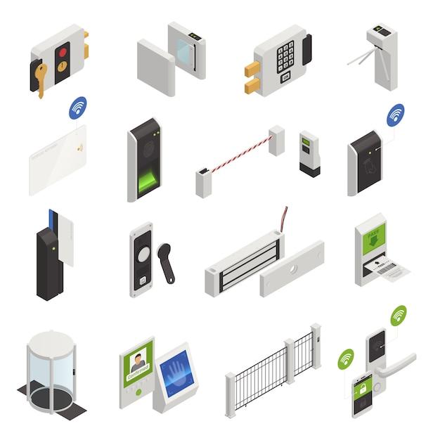 Proteger o conjunto de ícones de identidade Vetor grátis