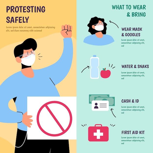 Proteja-se e proteste com segurança Vetor grátis