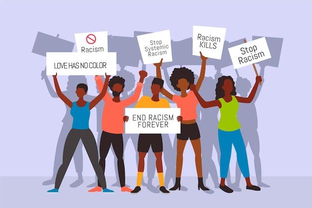 Protesto contra o racismo Vetor grátis