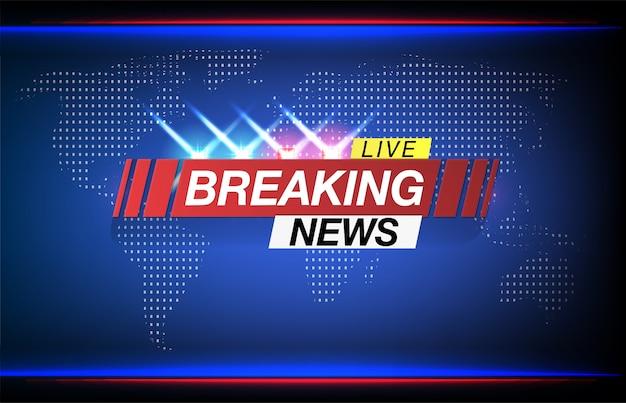 Protetor de tela de fundo em notícias de última hora. notícias de última hora ao vivo no fundo do mapa do mundo. Vetor Premium