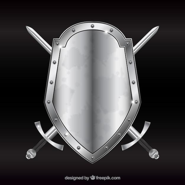 Protetor do metal com espadas Vetor grátis