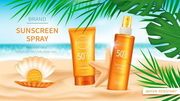Protetor solar cosméticos no fundo do mar ou oceano Vetor grátis