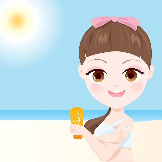 Protetor solar da pele Vetor Premium