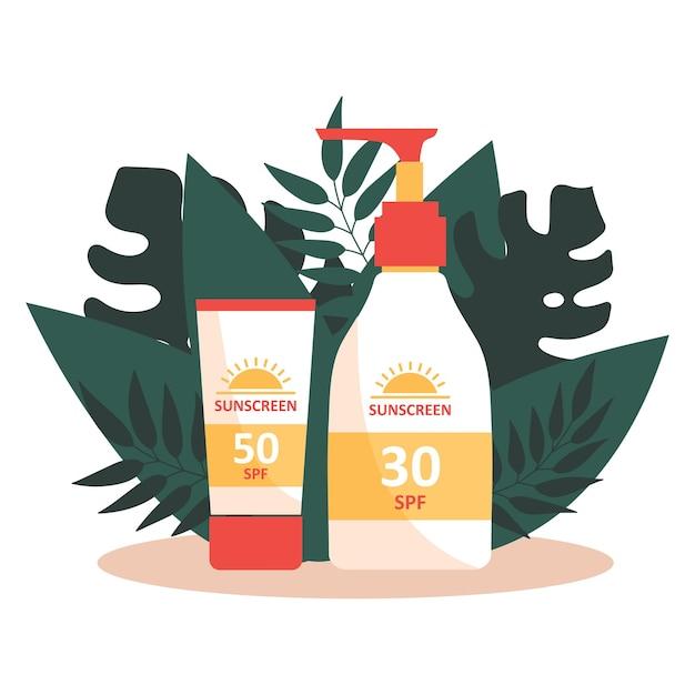 Protetor solar e alces em fundo de folhas tropicais. proteção uv. prevenção do envelhecimento e do câncer de pele. Vetor Premium