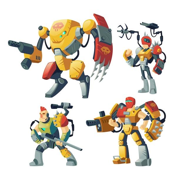 Protetores de robô dos desenhos animados, humanos em armadura de exoesqueleto Vetor grátis