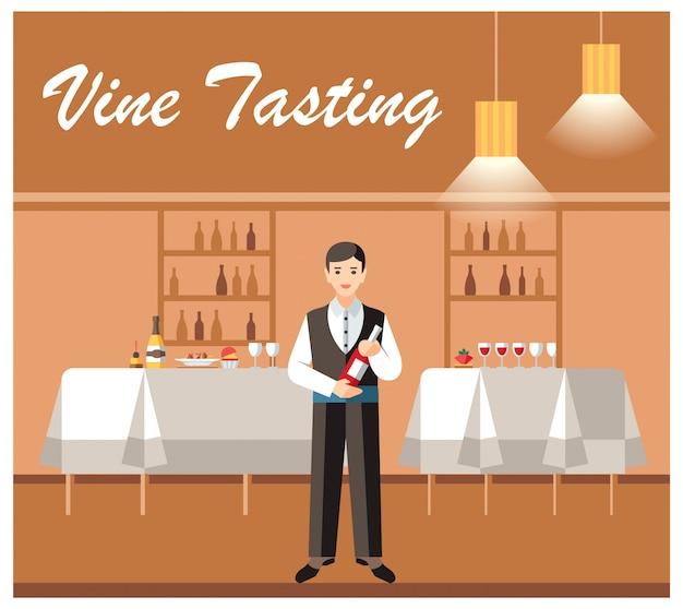Prova de vinho banquete evento vector banner plano Vetor Premium