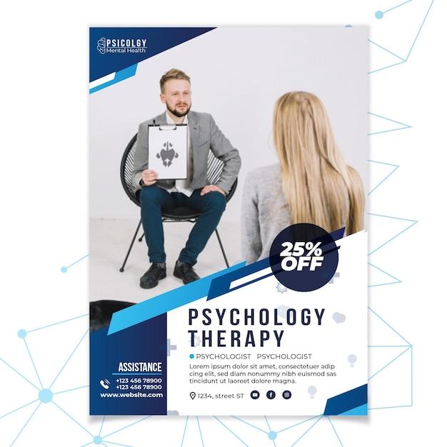 Psicologia da saúde mental, consulte modelo de folheto Vetor grátis
