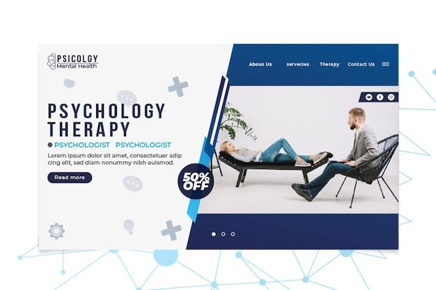 Psicologia da saúde mental, consulte o modelo da página de destino Vetor grátis
