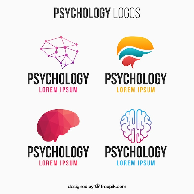 Psicologia logotipo colorido pacote Vetor grátis