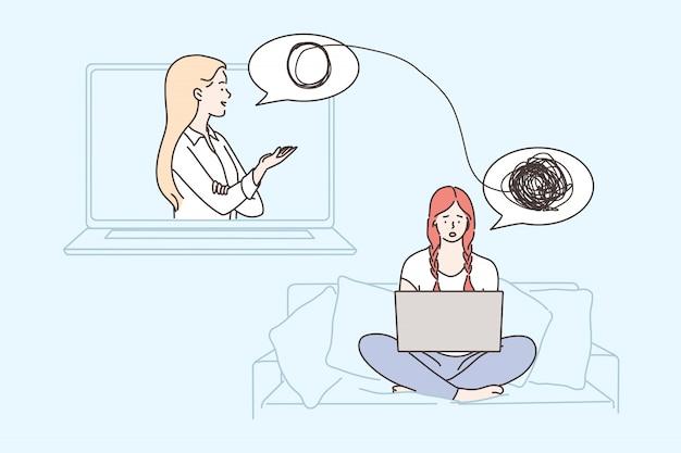 Psicologia, saúde, depressão, frustração, medicina do estresse mental, conceito on-line Vetor Premium