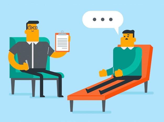 Psicólogo caucasiano, tendo, sessão, com, paciente Vetor Premium