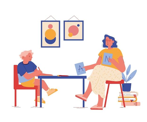 Psicólogo personagem mostrar cartões abc durante a sessão de terapia com criança com transtorno de autismo. processo de educação e aprendizagem, comunicação do paciente e terapeuta. cartoon people Vetor Premium