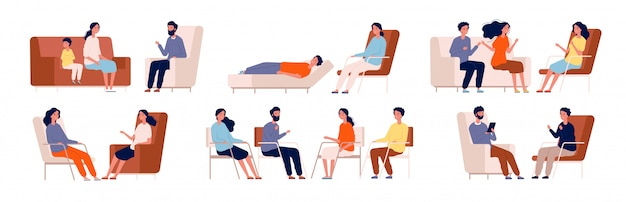 Psicólogo. sofá de terapia de grupo falando consultor médico sentado personagens de consultoria familiar Vetor Premium