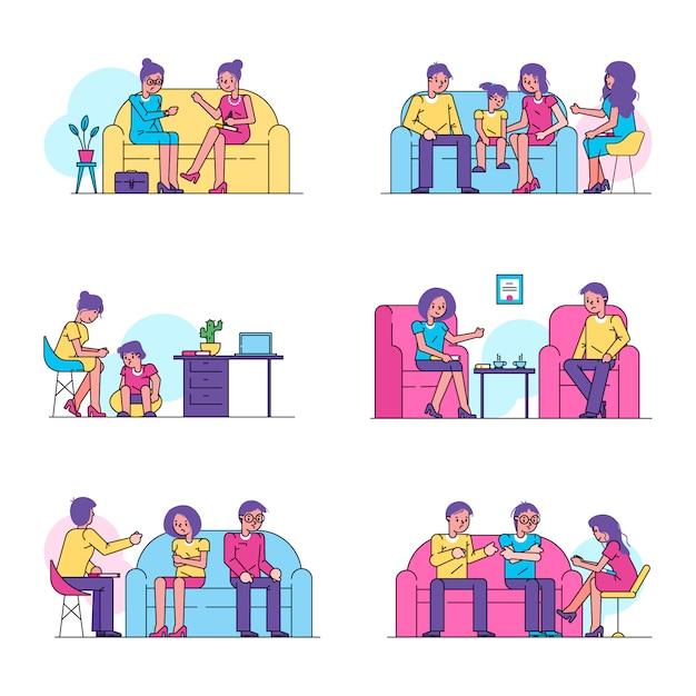 Psicoterapia, psicólogo consulta pessoas pacientes conjunto isolado de ilustração. Vetor Premium