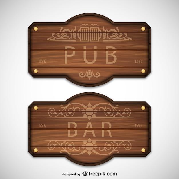 Pub e bar sinais de madeira Vetor grátis