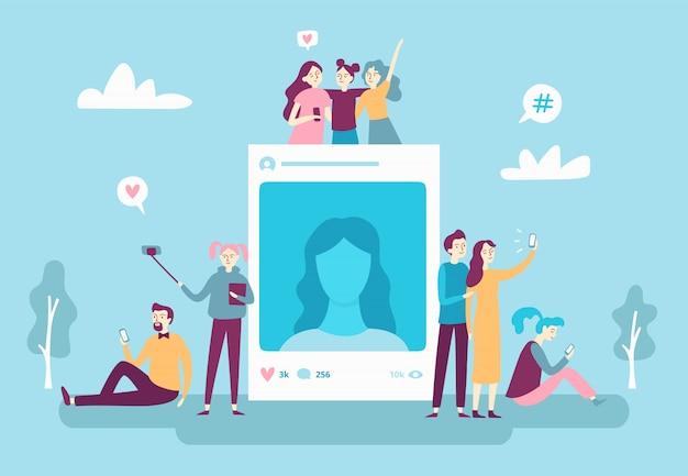 Publicação de fotos em redes sociais. jovens pessoas postando selfie foto Vetor Premium