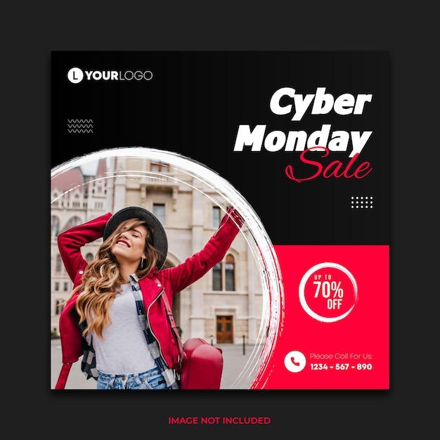 Publicação em mídia social de venda cibernética de segunda-feira com pincelada de tinta à mão Vetor Premium