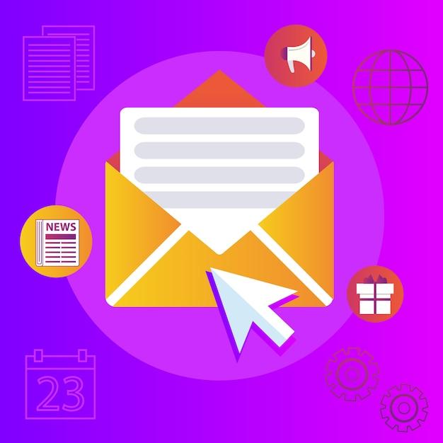 Publicação regular de notícias distribuídas via e-mail com alguns tópicos de interesse para seus assinantes. Vetor Premium