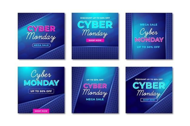 Publicações nas redes sociais da cyber monday Vetor grátis