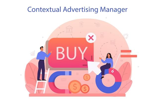 Publicidade contextual e conceito de segmentação. campanha de marketing e publicidade em redes sociais. propaganda comercial e comunicação com ideia do cliente. Vetor Premium