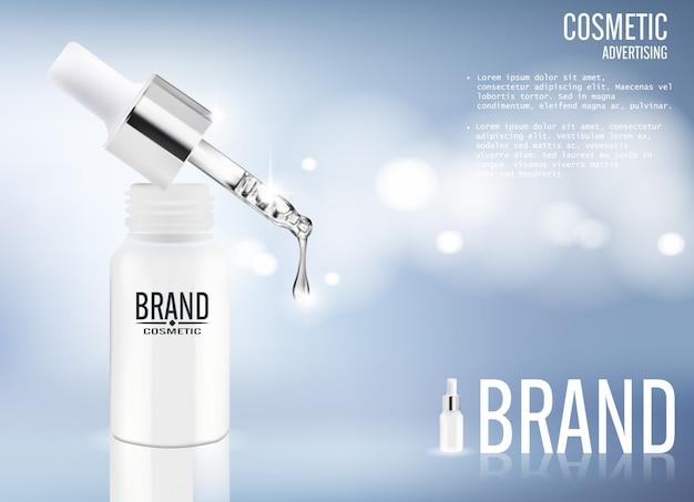 Publicidade cosmética de soro Vetor Premium