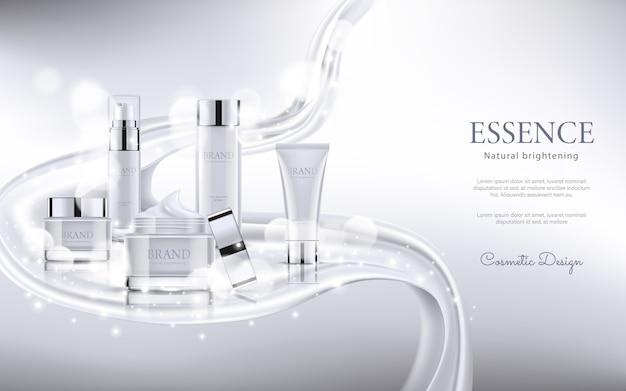 Publicidade cosmética elegante com textura de seda Vetor Premium