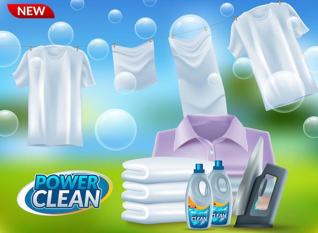 Publicidade de detergente em pó Vetor Premium