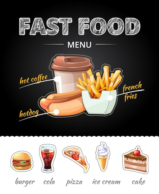 Publicidade de fastfood na lousa. almoço cola e batatas fritas, pizza e xícara de café, sorvete e bolo. Vetor grátis