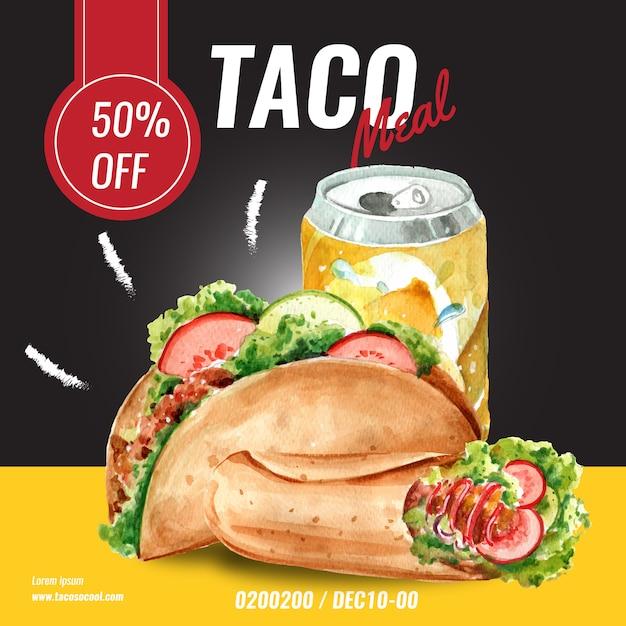 Publicidade de mídia social de restaurante de fast food. comida de aperitivo de lista de menu de borda de quadro Vetor grátis