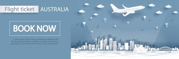 Publicidade de voo e bilhete Vetor Premium