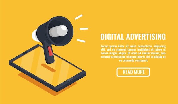 Publicidade digital, dispositivo móvel, smartphone com alto-falante Vetor Premium