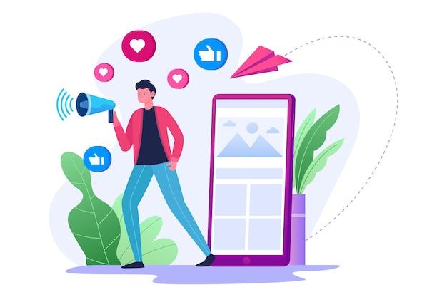 Publicidade e promoção de mídia social para uma estratégia de marketing Vetor Premium