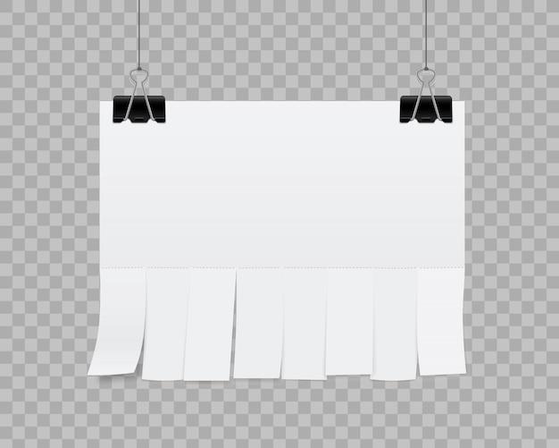Publicidade em papel de folha em branco Vetor Premium