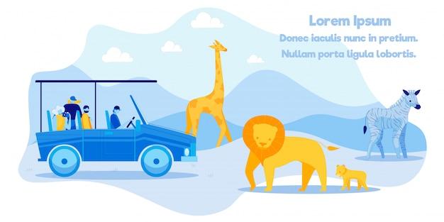 Publicidade em pôsteres excitante excursão no safari Vetor Premium
