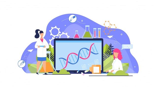 Publicidade flyer análise genética cartoon plana. Vetor Premium
