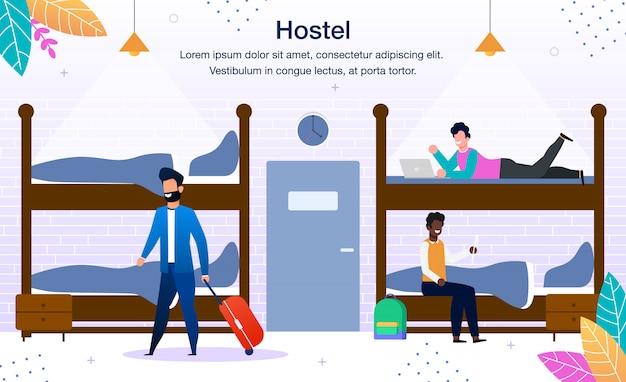 Publicidade no dormitório do hostel Vetor Premium