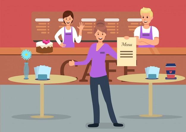 Publicidade no serviço de cafetaria profissional Vetor Premium
