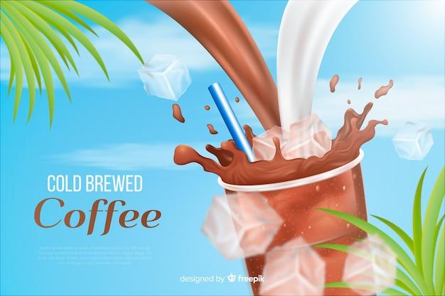 Publicidade realista de café frio Vetor grátis