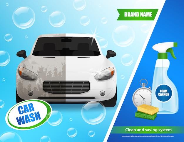 Publicidade realista sobre lavagem de carros Vetor grátis