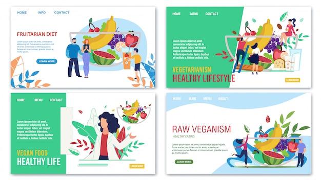 Publicidade saudável comer na moda landing page Vetor Premium