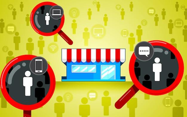 Público-alvo, foco no cliente. lupa, loja design plano, negócios de ícone Vetor Premium