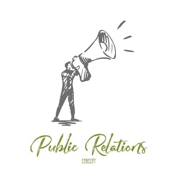 Público, publicidade, comunicação, relações públicas, conceito de mídia. mão-extraídas gerente de rp com esboço do conceito de megafone. Vetor Premium