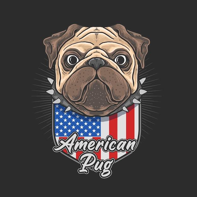 Pug bonito com emblema da bandeira americana Vetor Premium
