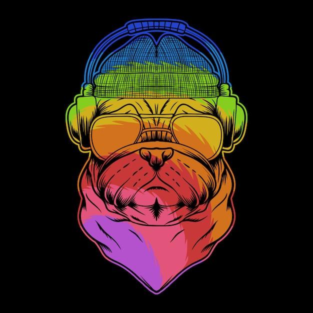 Pug cão auscultadores ilustração colorida Vetor Premium